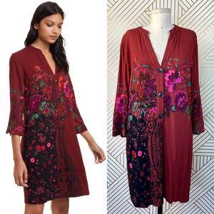 Desigual Valentina Dress Maroon Floral Print